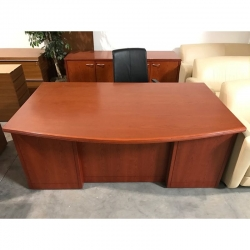 Cherry wood bow front desk and credenza