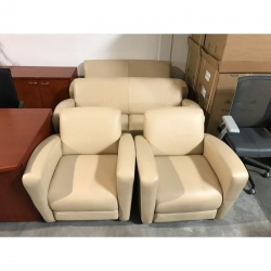 National leather loveseats and club chairs